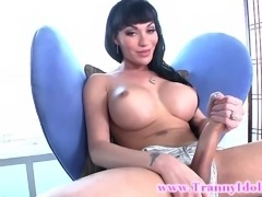 Shemale lady boy loves her solo time with her cock