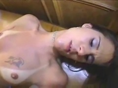 Sudden table sex with a slender shemale slut
