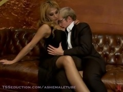 Blonde guy seduced by exotic shemale