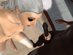 Anime blowjob from a naked tS