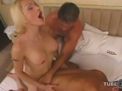 Two mad fuckers eat a busty blonde Tgirl