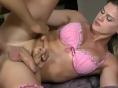 Blonde shemale goes down on cock
