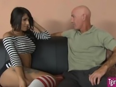 Tgirl Jane Marie fucks when boss come in