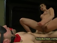 Blindfolded tied up guy fucked tranny