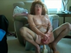 Horny CD dildo riding