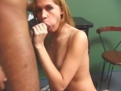 Blonde shemale loves to suck cocks