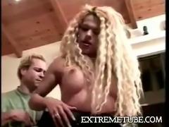 Vintage blonde TS gets spanked