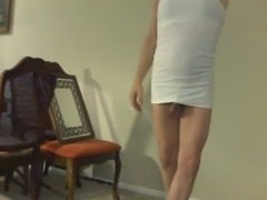 Horny crossdresser smokes at home