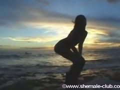 Hot teen shemale model on the beach