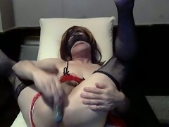 Masked mature crossdresser masturbation