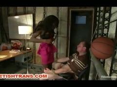 TS Bambi Seduces A Coach In His Office