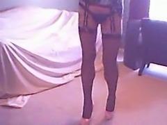 Homemade crossdresser with slim legs