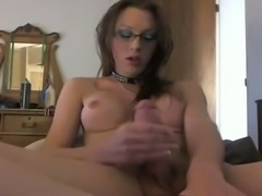 Crazy tranny jerking off