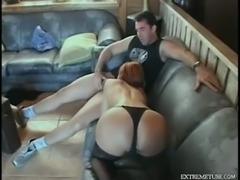 Man bonks redhead slut in stockings