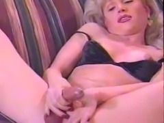 Vintage Tgirl plays with her cock & toy