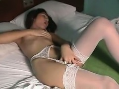 Hot shemale stroking her cock