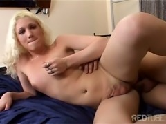 Curly blonde rides cock hot