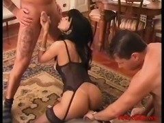 Sexy latia shemale fucked by two guys