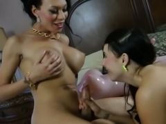 Mia Isabella has a fun with girl and rubber doll