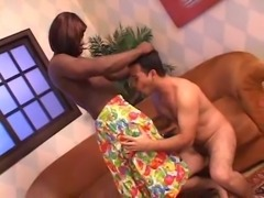 Interracial fuck with cute crossdresser