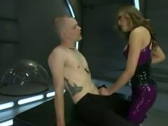 Shemale in latex fucks submissive guy