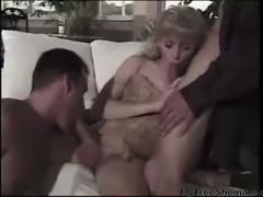 Hot blonde TS in trio
