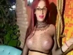 Busty big cocked redhead TS solo