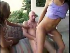 Hot trio outdoor fucking scene