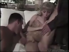 Horny blonde TS with two fellas