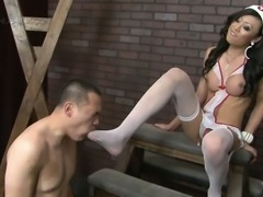 Pornstar Venus Lux gives ball and ass punishment