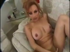 Slutty TS hottie jerking