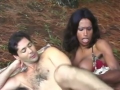 Hot interracial with big dicked tranny