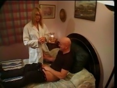 Hot nurse gives treatment to guy