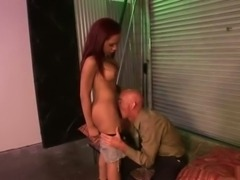 Busty naughty shemale banged hard