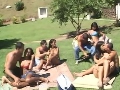 Outdoor orgy with Brazil Tgirls