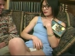 Sofa sex with a brunette Tgirl