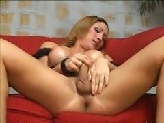 Titty Blonde T-Girl Smashing Guy Ass