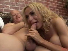 Titty Blonde T-Girl Wanking While Guy Fucking Her