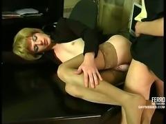 Office sex with a shy crossdresser