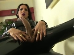 Sultry Babe In Latex Suit Masturbating