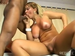 Busty Blonde Shemale Gets Protected Fucking