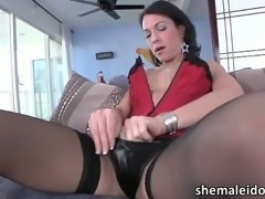 Busty shemale Danika Dreamz masturbates and cums
