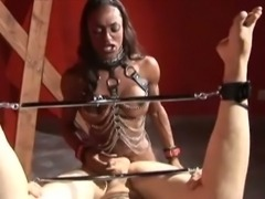 Black tranny adores her white slave guy