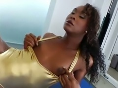 So sweet chocolate Tgirl in a gym