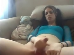 Solo teen shemale beating off