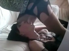 Two crossdresser sucking show