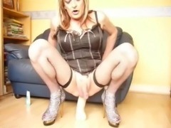 Cute Blonde CD Fucking a huge toy