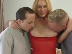 Hot blonde Tgirl has fun with two guys