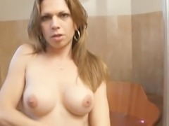 Camilla shemale strokes her thick cock