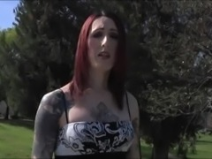Tattooed tgirl Brittany St Jordan enjoys her porn audition by stroking her dick